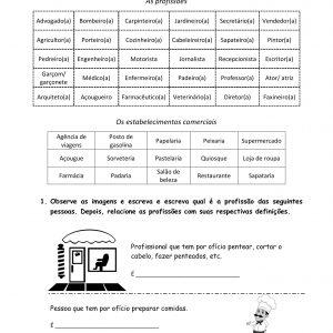 Material de apoio para aulas de PLE/PFOL que, com dois exercícios e gabarito, traz a prática de um tema básico: profissões.